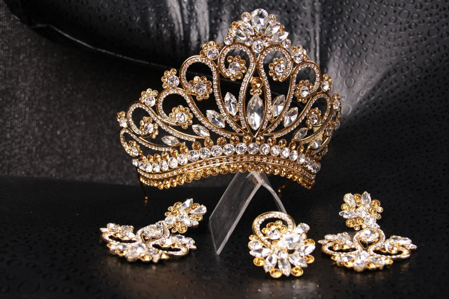 Unique Handmade Princess Tiara Crown Wedding Crystal Gold Hand Made For Order Inlaid With Brown Swarovski Crystals