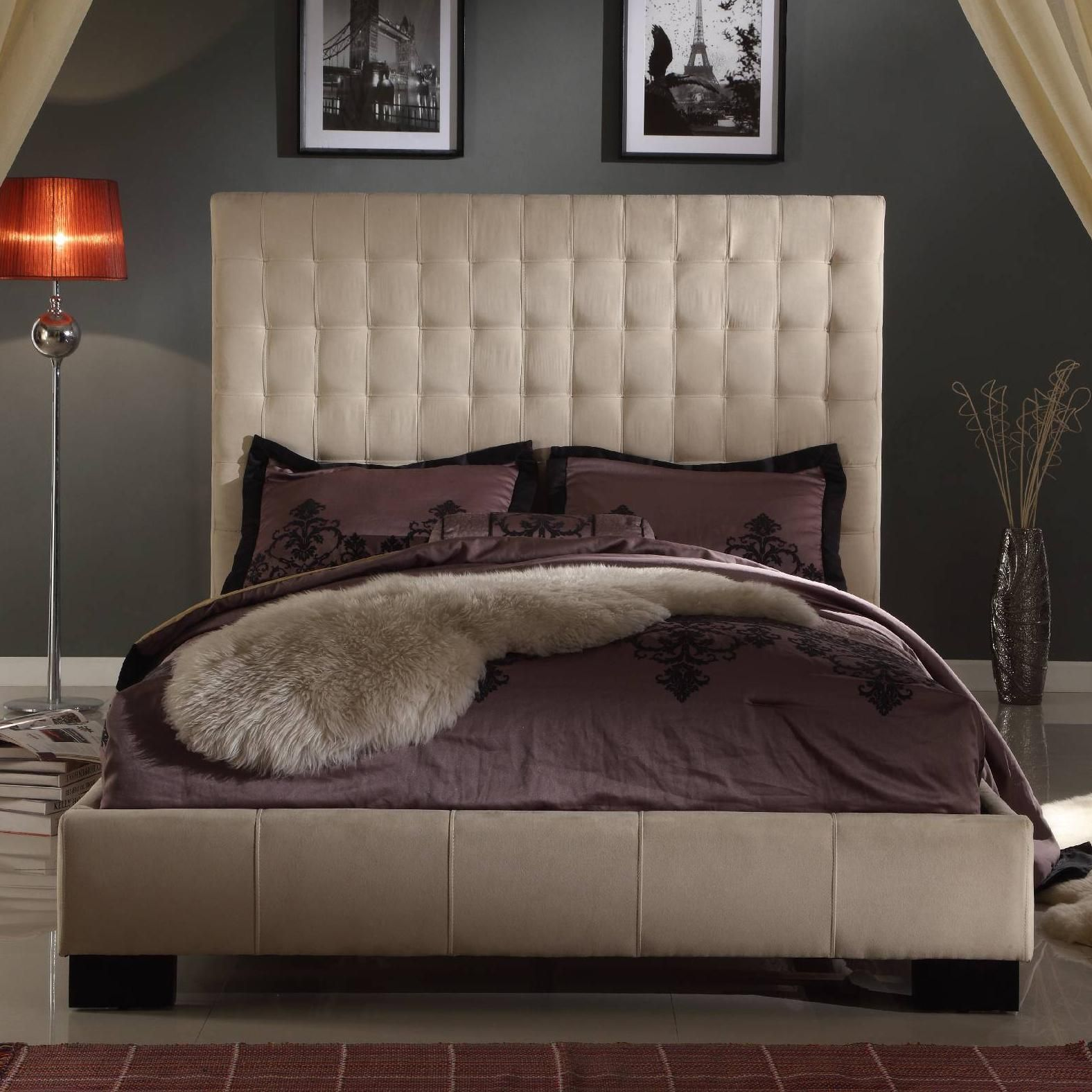 stylus upholstered bedroom california king size low profile bed with fabric upholstery and tufted headboard - King Padded Bedroom Designs