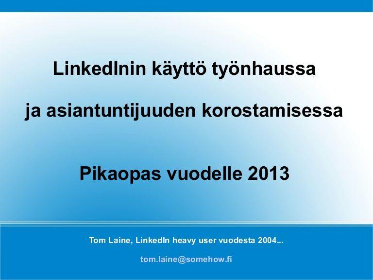 Linkedin Työnhaussa