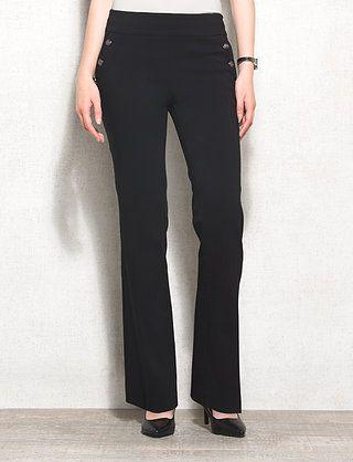 cea3342e590 roz ALI Secret Agent Button-Trim Straight Pants