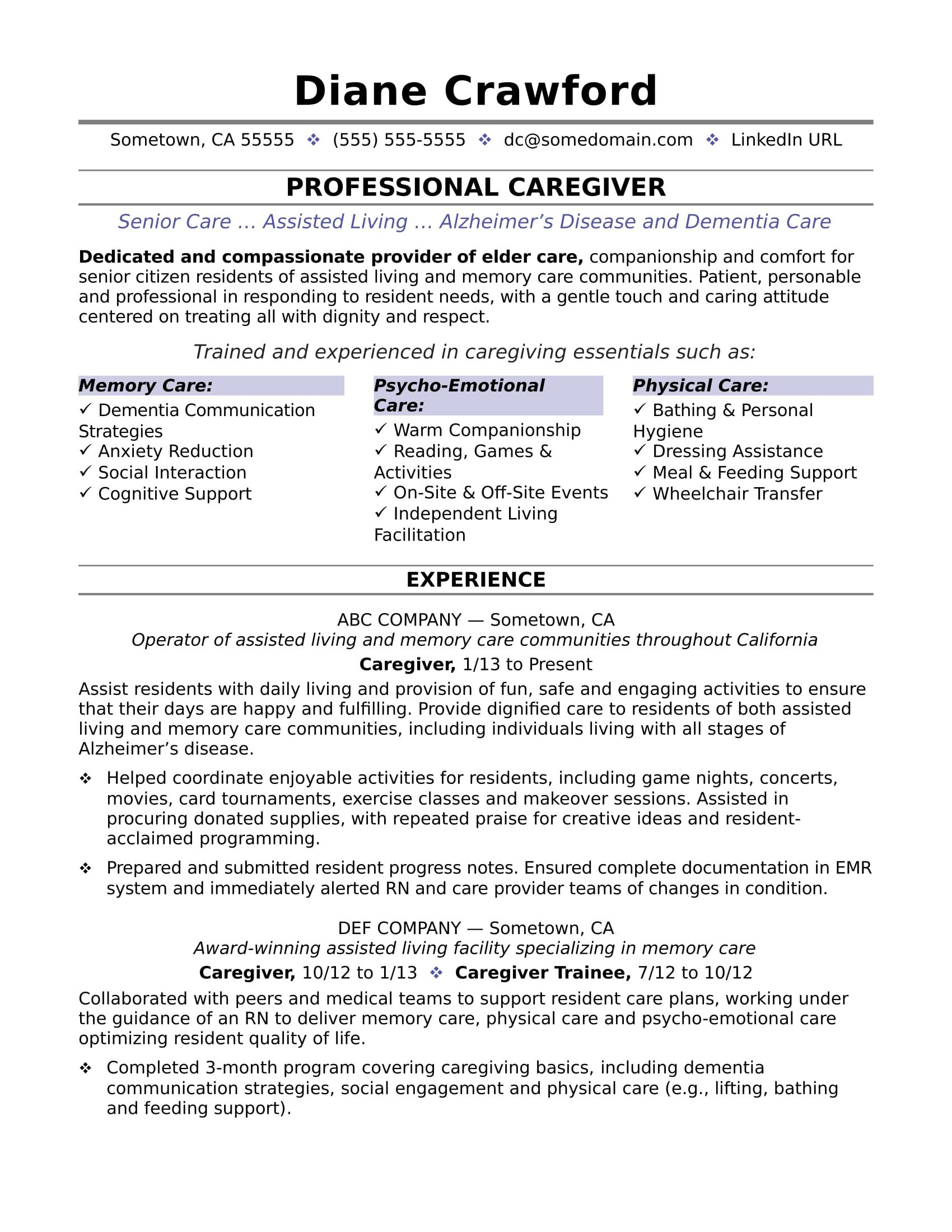 Caregiver Resume Sample  Caregiver