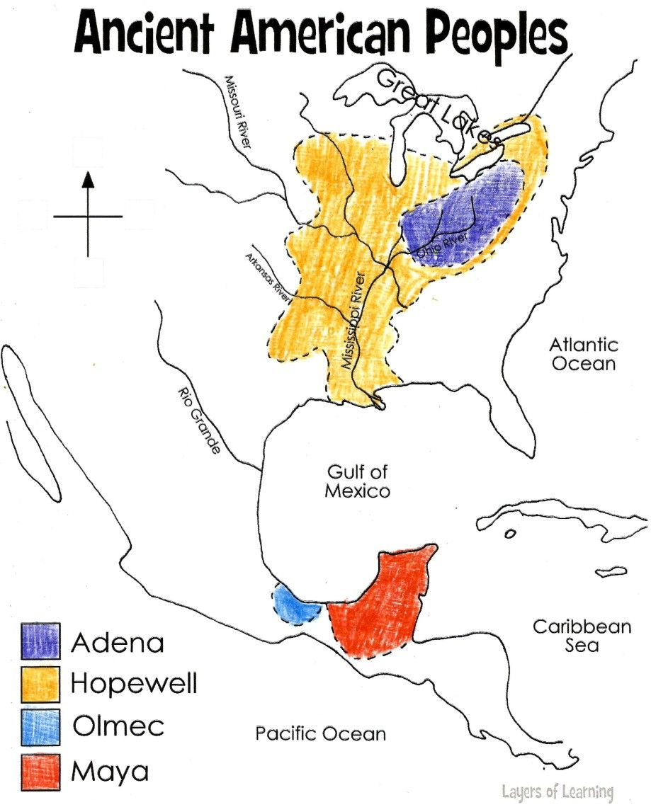 Ancient North America Map colored You can print the map Also
