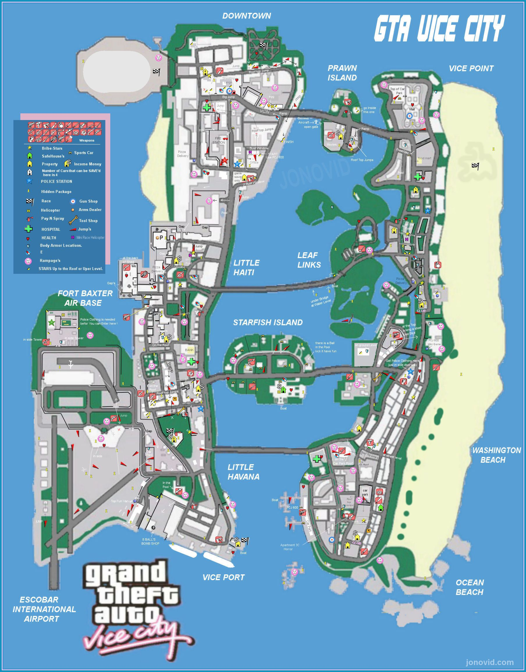 Vice City Map Vice City map | Grand Theft Auto | Gta, Xbox games, Grand theft auto