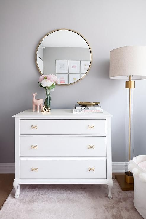 White Nursery Dresser With Gold Bow Tie Pulls Babies