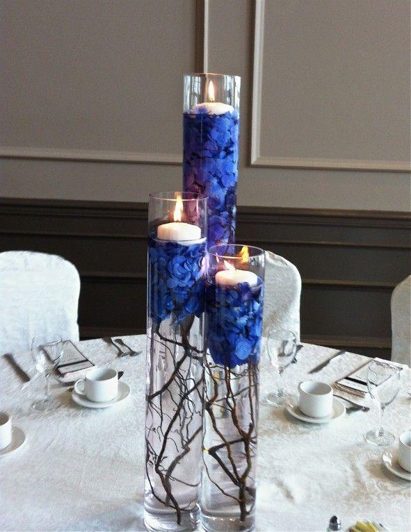 Blue reception wedding flowers, wedding decor, wedding flower ...