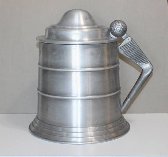 Very Cool, Vintage Pewtertone Olde Tankardware, Golf Themed Ice Bucket