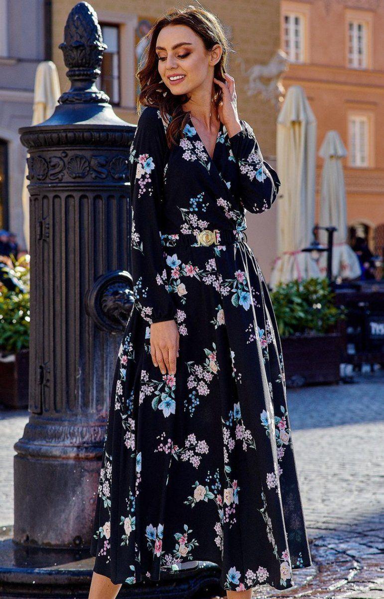 3358a45b50 Sukienka midi czarna w kwiaty L286 Lemoniade