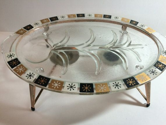 Midcentury Modern Mcm Oval Glass Starburst Warming Tray With Stand Glass Platters Gold Starburst Midcentury Modern