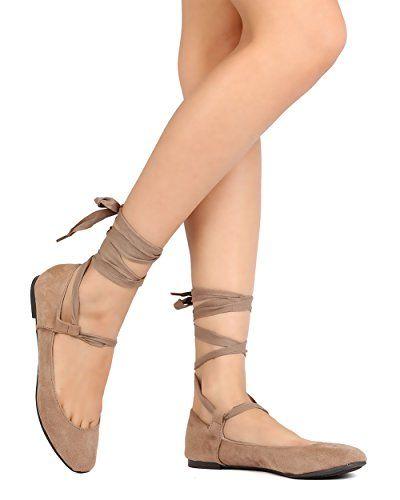 05aca1226fe Breckelles GK49 Women Faux Suede Ribbon Tie Ballet Flat -... https