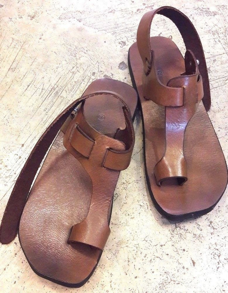 T-Strap Leather Biblical Sandals Jesus For Men Women Handmade US 5-12 EU 36-46