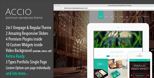 Accio v1.2.3 One Page Parallax Responsive WordPress Theme Blogger ...