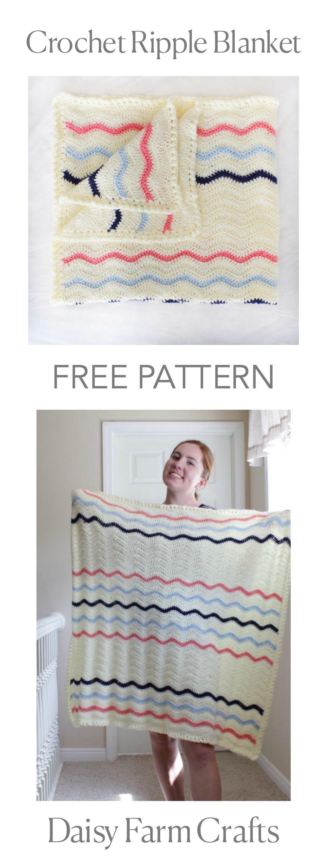 FREE PATTERN - Crochet Ripple Blanket   Afghans chevron   Pinterest