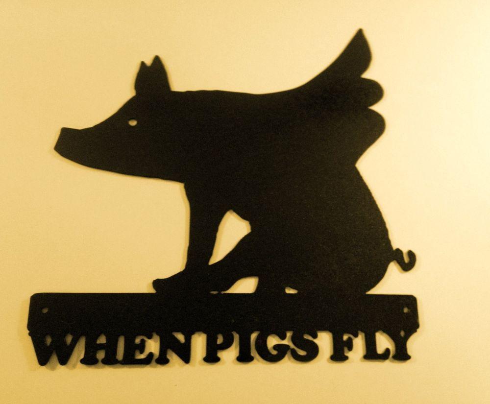 When Pigs Fly, Metal Art, Office, Business, Home, Cabin,Boar, Wild ...