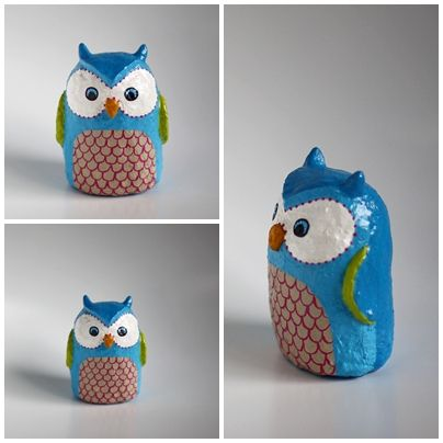Little Blue Owl: Paper mache and paper pulp clay by Whimsy Owl Way.
