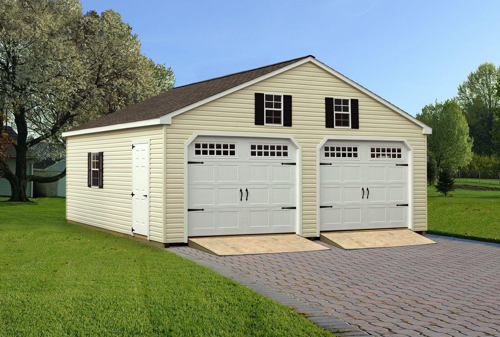 Amishcrafted detached garages 24'x24' doublewide vinyl