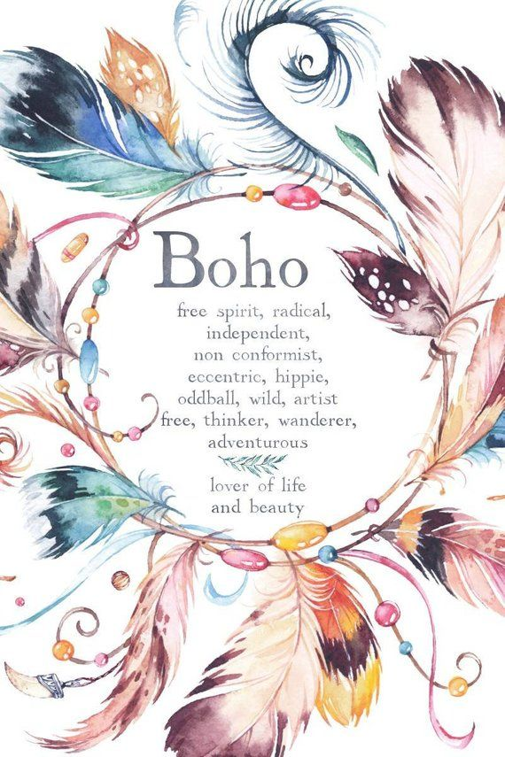 Boho Typography Print Free Spirit Quote Poster Natural Etsy