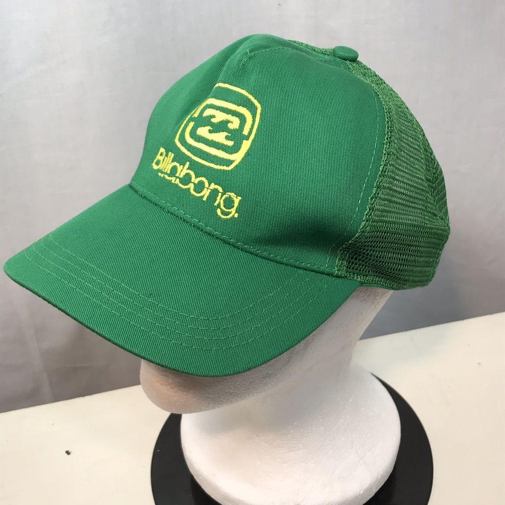 Retro Vintage Billabong Mesh Trucker Hat Green Yellow Logo Adjustable  Snapback  Billabong  TruckerHat  snapback  streetwear 88952fc7f573