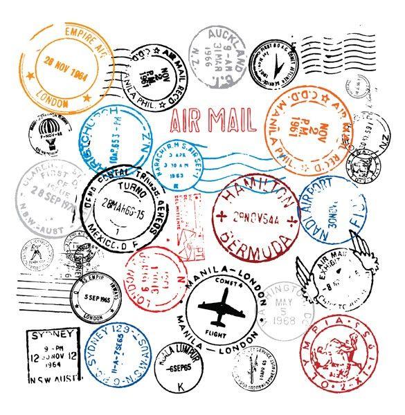 XOO Plate :: World Postmark Stamps Vector Set - Around the world post mark stamps vector set in .eps and .ai files.
