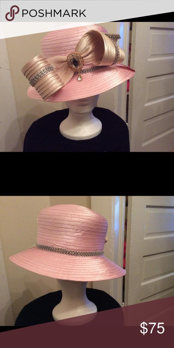 e27c2ffad48 PRETTY PINK WOMEN LADY CHURCH WEDDING DERBY HAT Pink satin rhinestones and  brooch. Accessories Hats