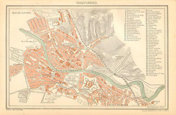 1896 Original Antique City Map of Oradea Growardein or Home Decor