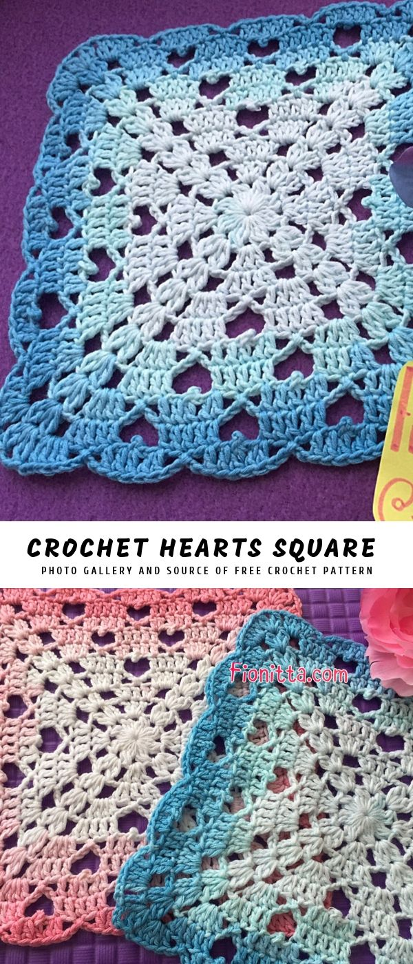 Crochet Hearts Square Blanket #grannysquares