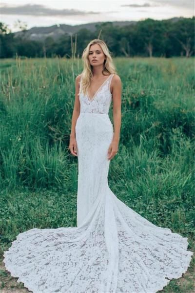 Long Mermaid Wedding Dress with Sleeves,Two Straps Lace Mermaid ...