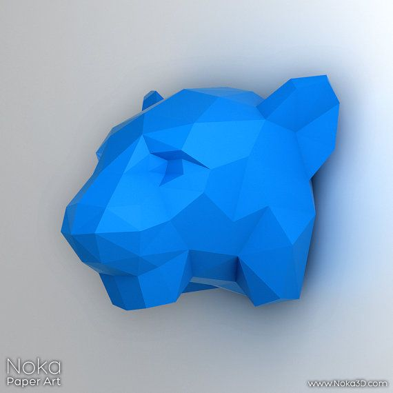 Tiger Head - 3D papercraft model Downloadable DIY template