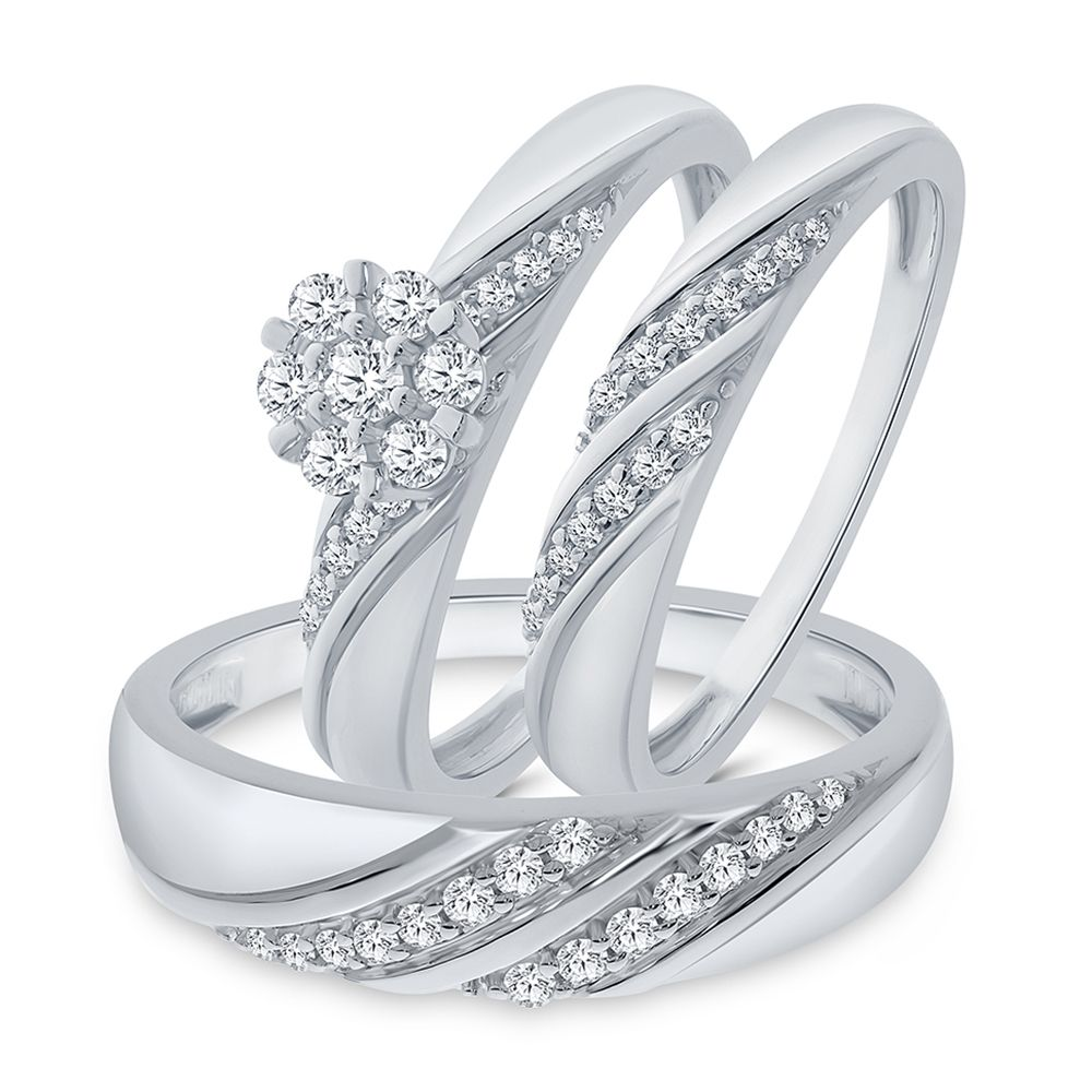1/2CT TW Trio Simulated Diamond Sterling Silver Wedding