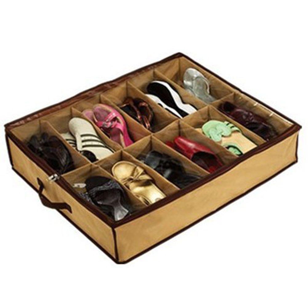 Rangement À Chaussures Gain De Place pas cher 12 pcs grille transparent antipoussière chaussure