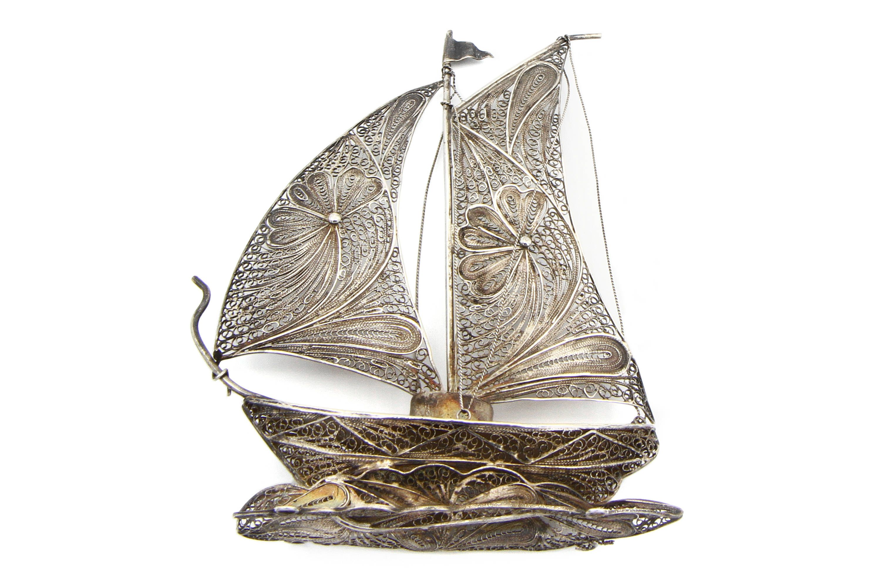 Silver Filigree Ship Wire Worked Sailing Boat Handmade Ship Boat Caravel Model Antique 1940s Nautical Decor An Silver Filigree Filigree Design Silver Work