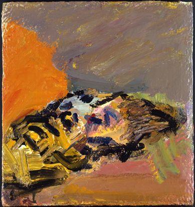 Frank Auerbach - Reclining Head of Julia 2009, 2009  acrylic on board  48.3 x 46.3 cm.(19 x 18 1/4 in.)