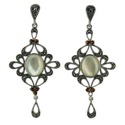 Sterling Silver Marcasite Mother-of-Pearl Oval Garnet Chandelier Drop Earrings