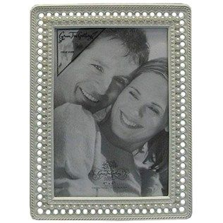 """4"""" x 6"""" Antique White Photo Frame with Pearls"""