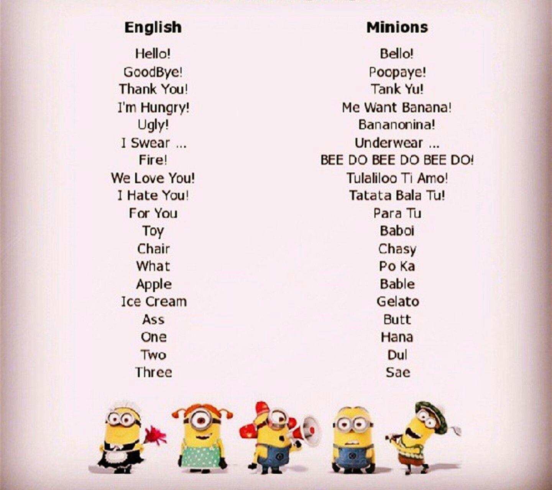 Pin By Lulu On Minions Minion Words Minions Language Minions