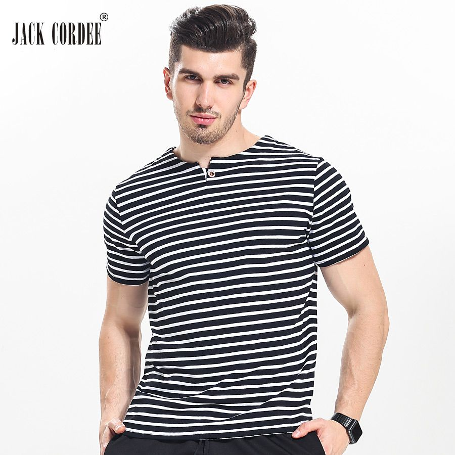 mens haircut JACK CORDEE Summer Fashion Strip T-Shirt Men Slim Fit ...