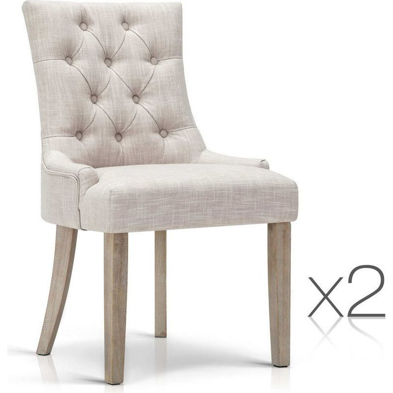 2pc French Provincial Polyester Dining Chairs Beige Fabric
