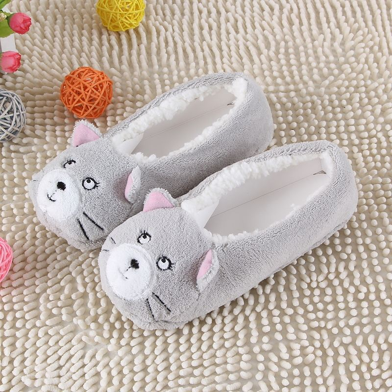 9b2ca92b480 2017 New Warm Flats Soft Sole Women Indoor Floor Slippers Shoes Animal  Shape White Gray Cows Pink Flannel Home Slippers 6 Color