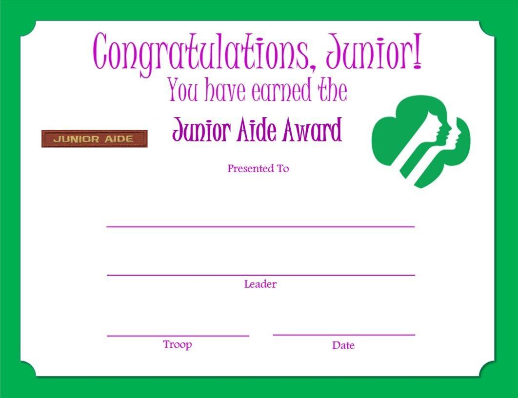 Junior Aide Award Certificate