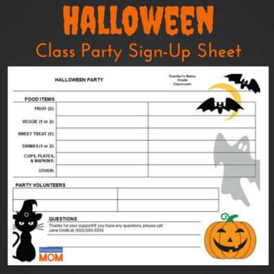 Halloween Classroom Party Sign Up Sheet  Class Sign Up Sheet Template