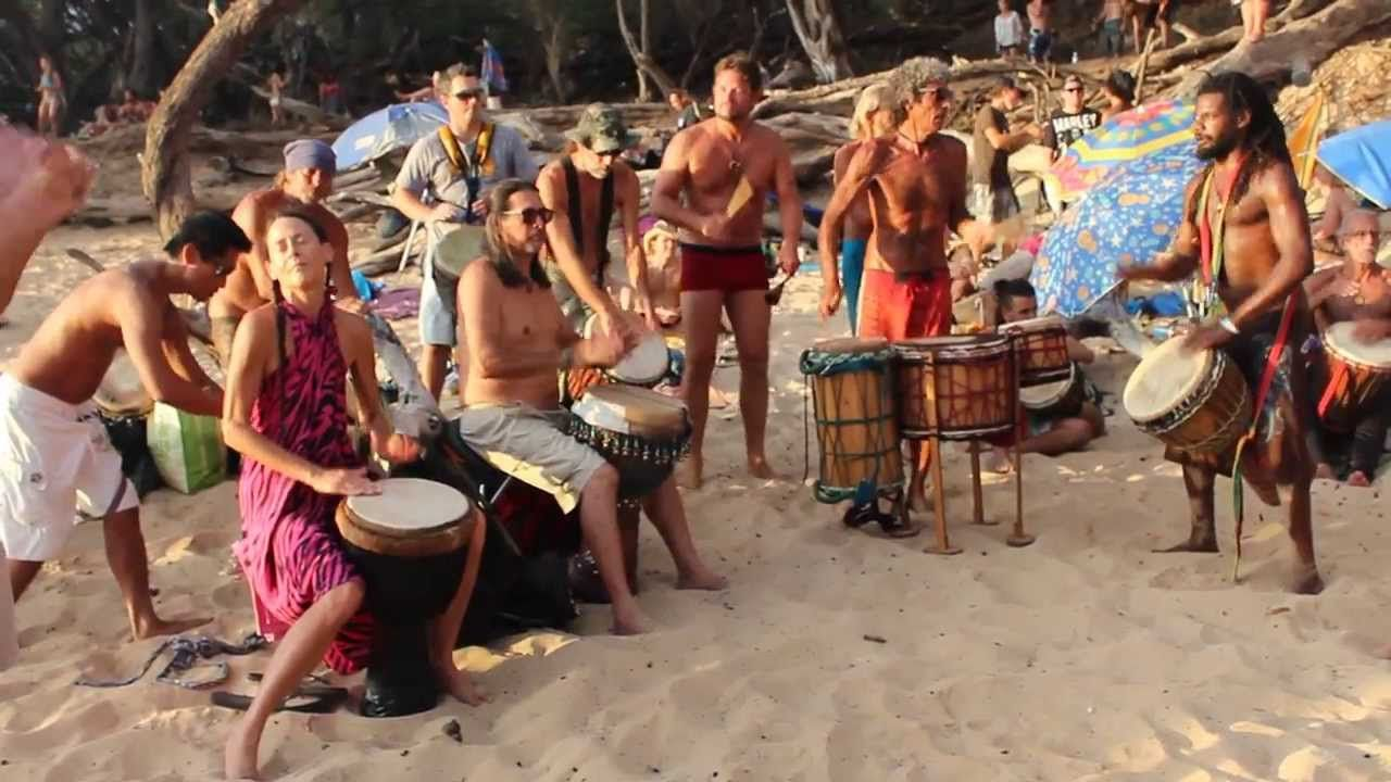 Sunset Drum Circle At Little Beach On Maui, Hawaii -1722