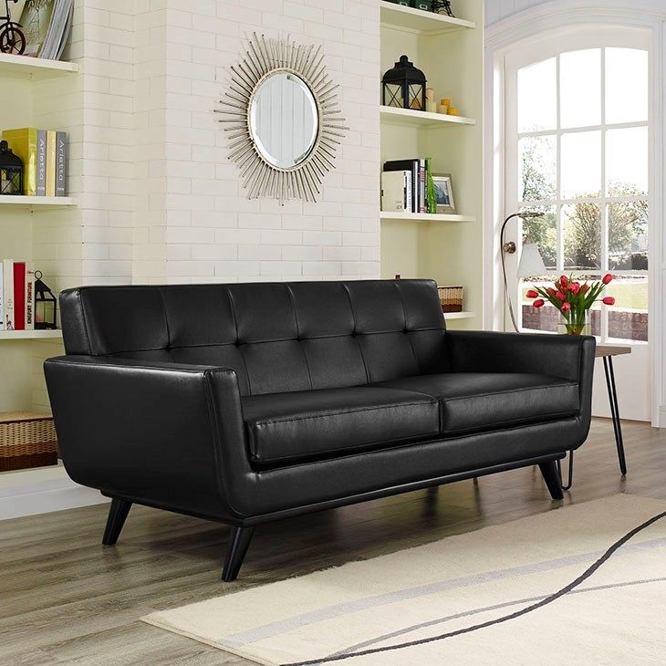 LexMod - Engage Bonded Leather Loveseat in Black