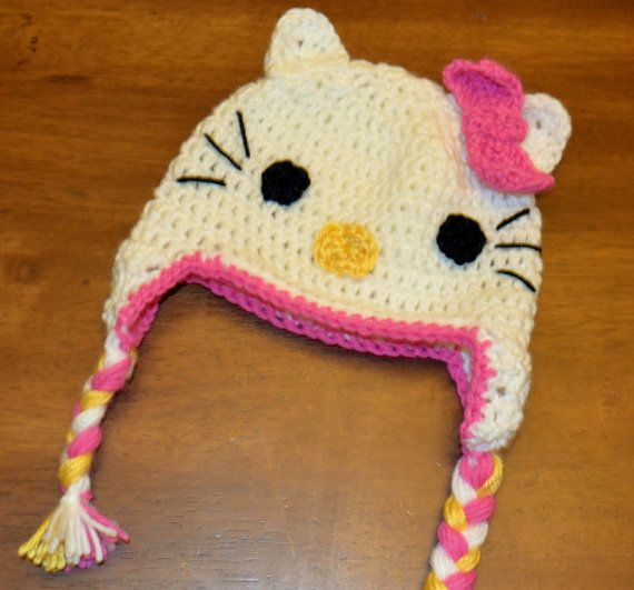 Instant Digital Download Crochet Pattern Hello Kitty Hat With Bow