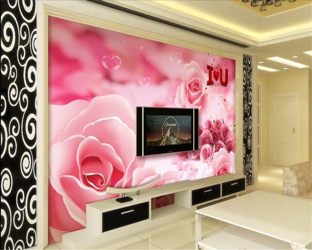 Beibehang 3d Wallpapers Beautifully Romantic Rose Tv Walls Wall Decorative Mural 3d Living Room Bedroom Mura 3d Wallpaper Romantic Roses 3d Wallpaper Beautiful