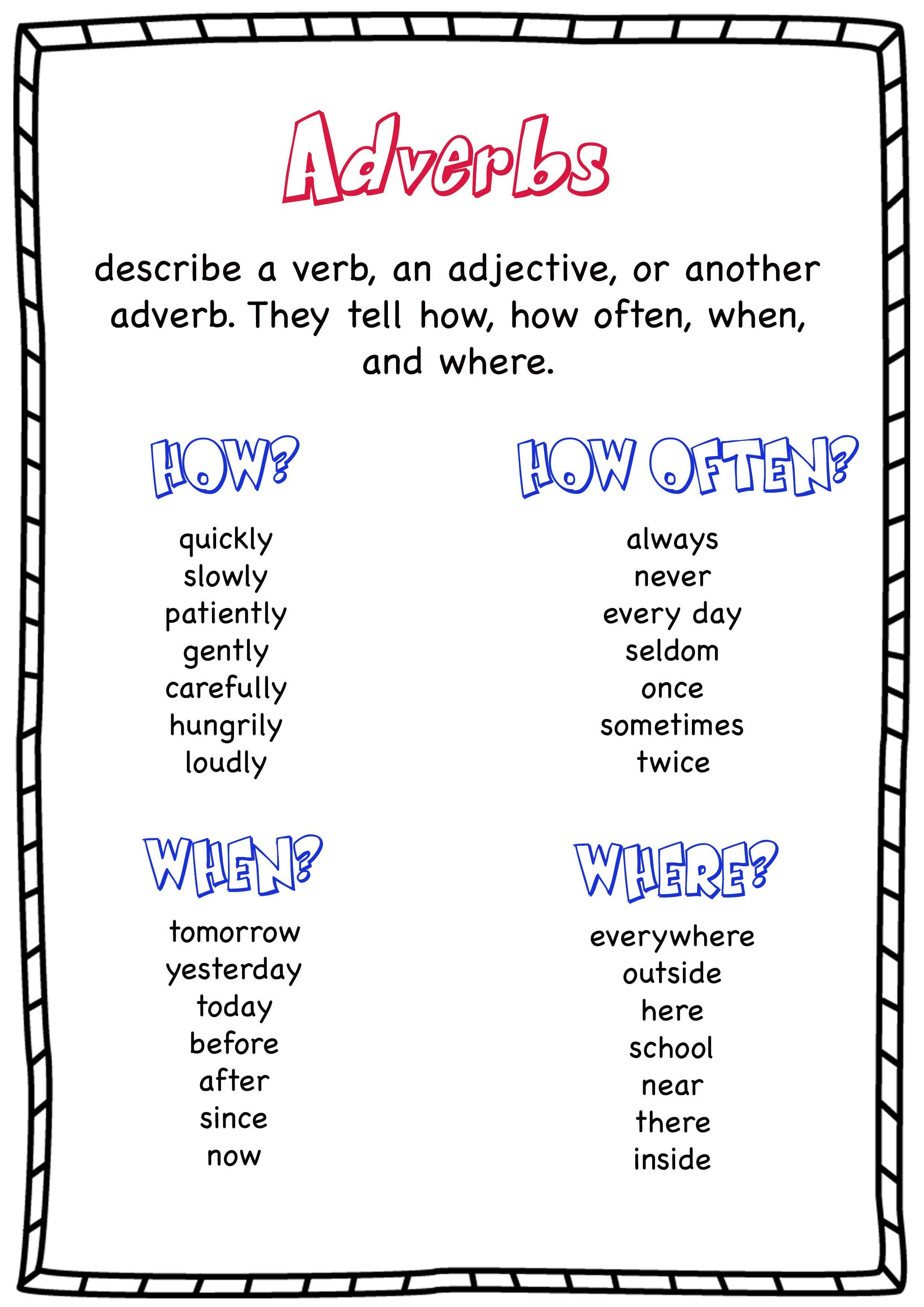 Adverbs Worksheets Adverbs Worksheet Adverbs Adjectives