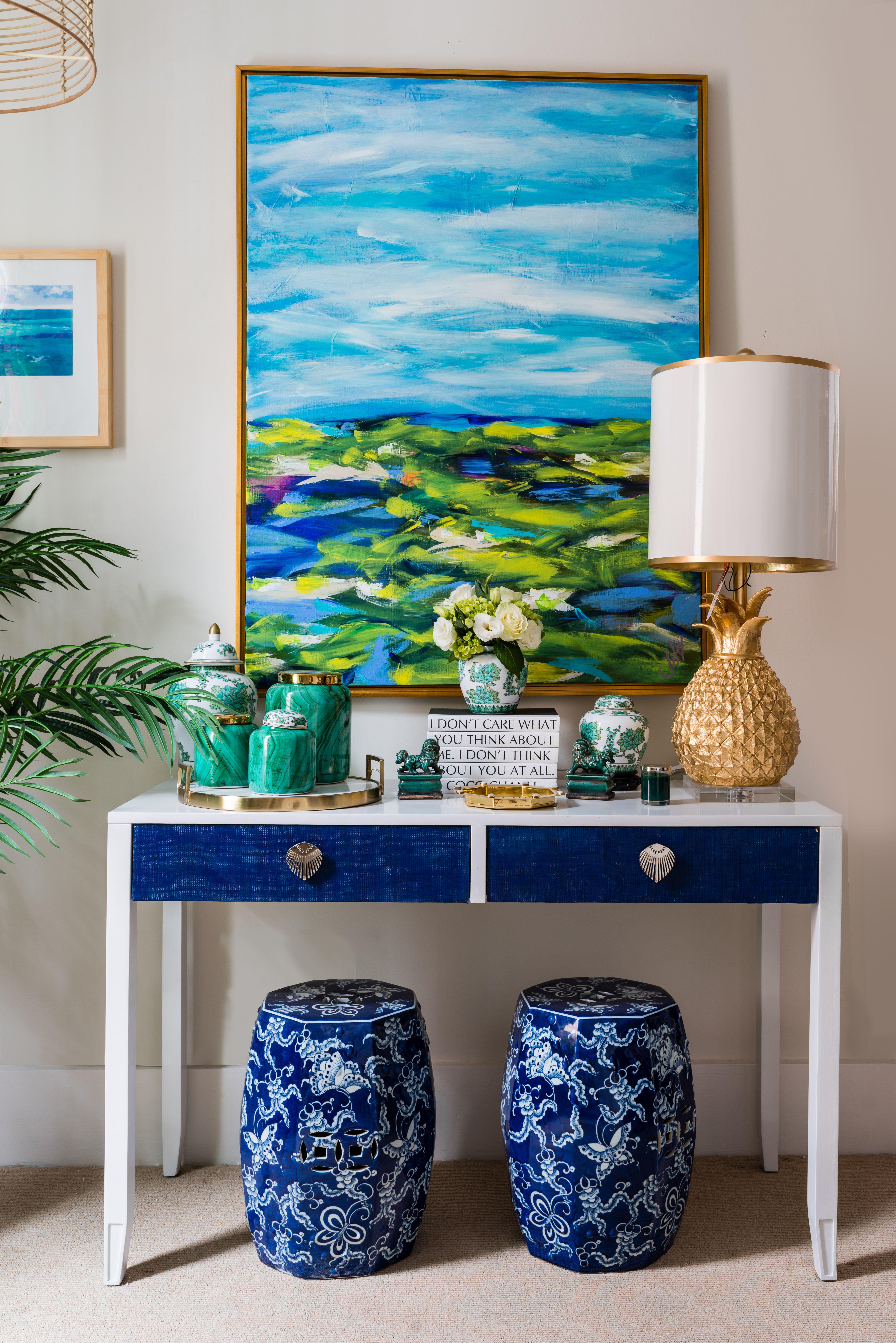 Colorful Vignette By Trellis Home Design Www Trellishomedesign Com Interior Paint Turquoise Living Room Decor Decor