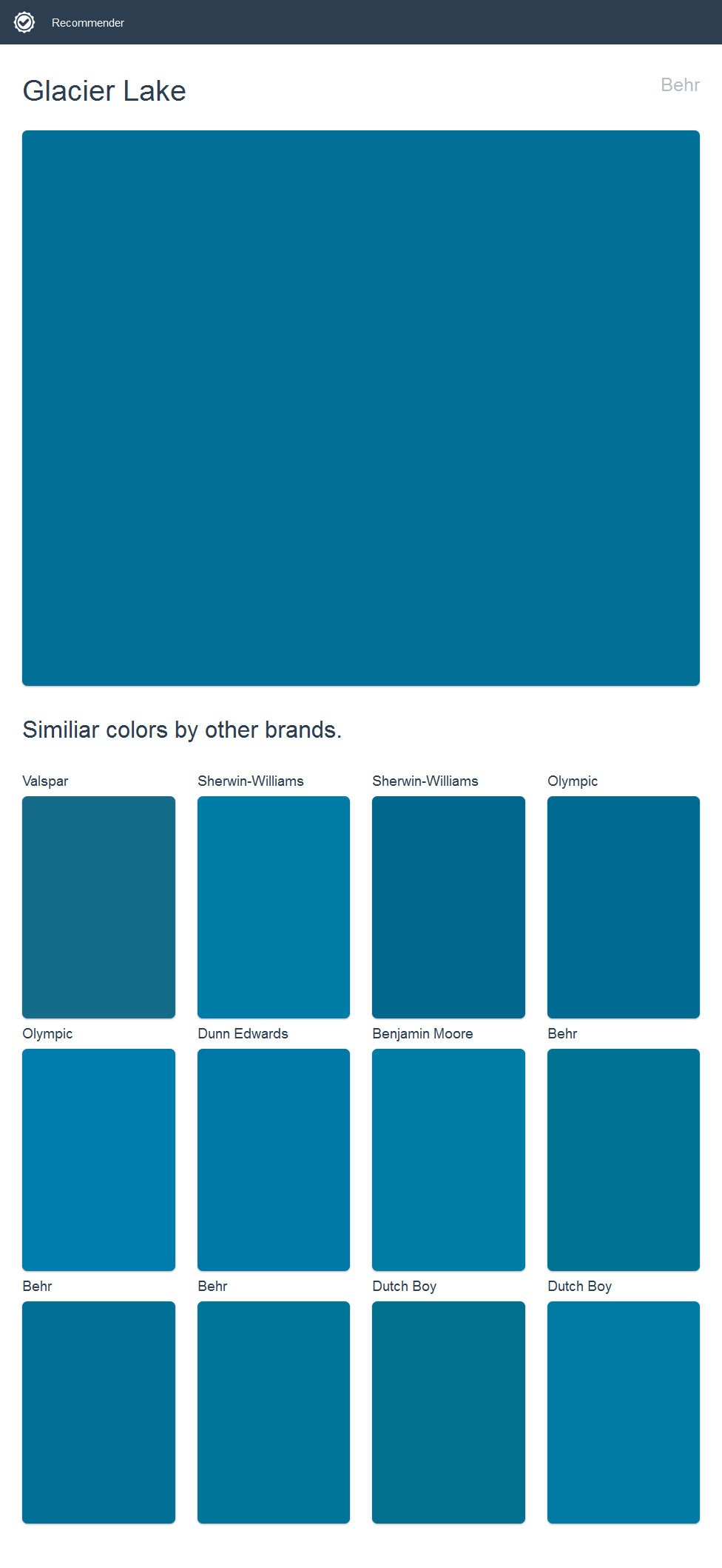 Glacier Lake, Behr. Click the image to see similiar colors by other brands.