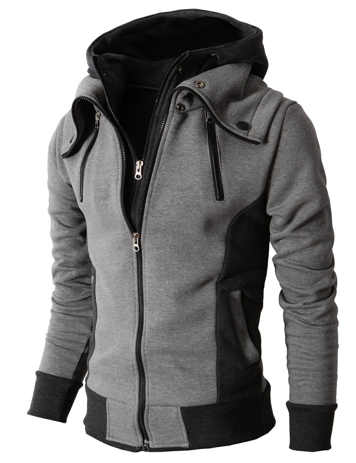 H2H Mens Casual High-neck Hoodie Zip-up with Double Zipper Details GRAY US  M Asia L (KMOHOL013) fdd19581b232