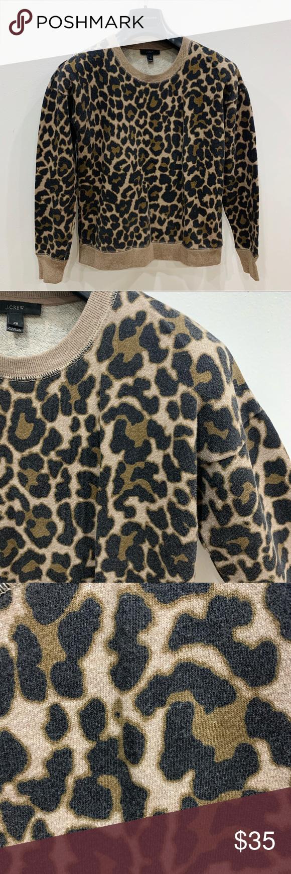 J Crew Crewneck Sweatshirt In Leopard Print Xs As Seen On Photos Good Condition Cotton Blend Chic Cas Clothes Design Crew Neck Sweatshirt Casual Sweatshirt [ 1740 x 580 Pixel ]