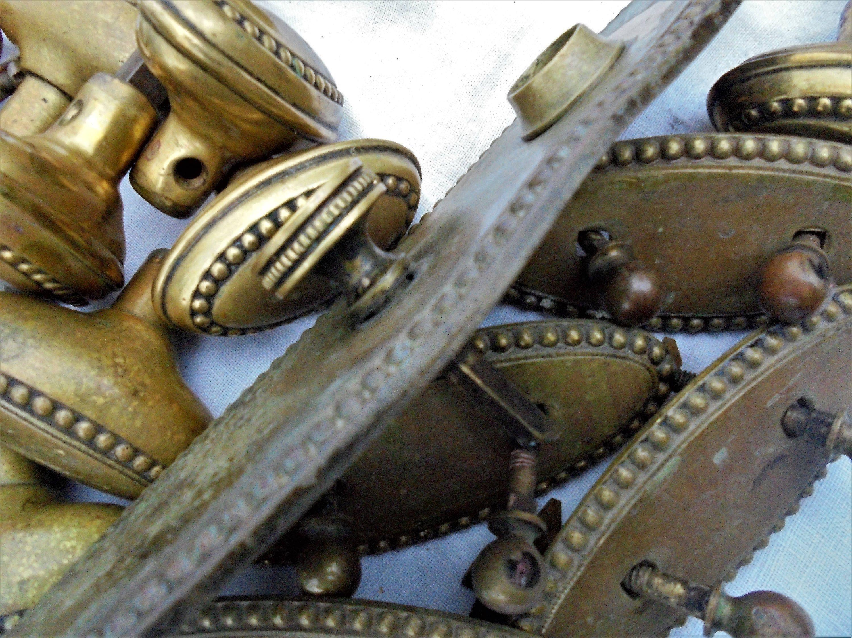 Vintage Brass Oval Door Knobs,Door Knob Plate And Drawer Pull Back Plates,  Set