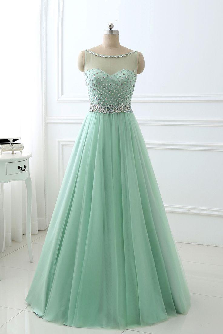 Beaded mint green chiffon prom dress modest prom dress long prom